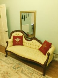 Green Room Settee for spanking you over my knees!